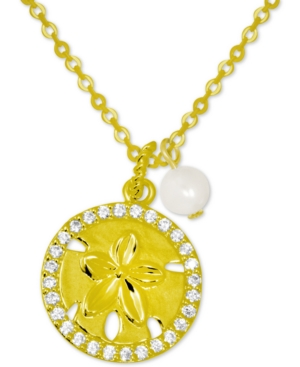 Crystal Starfish & Freshwater Pearl (6mm) Pendant Necklace in Gold-Plate