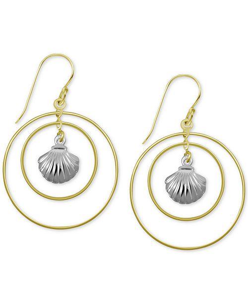 Kona Bay Shell & Double Orbital Drop Earrings in Two-Tone