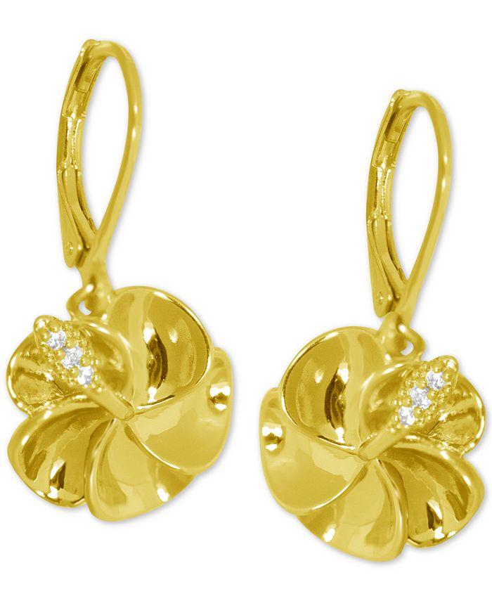 Kona Bay - Flower Drop Earrings in Gold-Plate