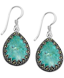 Genuine Swarovski Marcasite & Reconstituted Turquoise Drop Earrings in Fine Silver-Plate