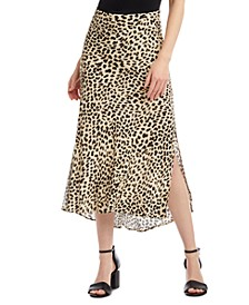 Leopard-Print Bias-Cut Skirt