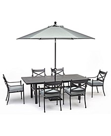 "Montclaire Outdoor Aluminum 7-Pc. Dining Set (84"" X 42"" Table & 6 Dining Chairs) With Sunbrella® Cushions, Created for Macy's"