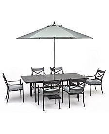 """Montclaire Outdoor Aluminum 7-Pc. Dining Set (84"""" X 42"""" Table & 6 Dining Chairs) With Sunbrella® Cushions, Created for Macy's"""