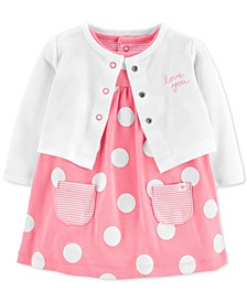 Baby Girls 2-Pc. Cotton Dot-Print Bodysuit Dress & Cardigan Set