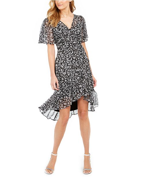 Calvin Klein Floral-Print Faux-Wrap Dress