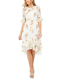 Floral-Print Ruffled A-Line Dress