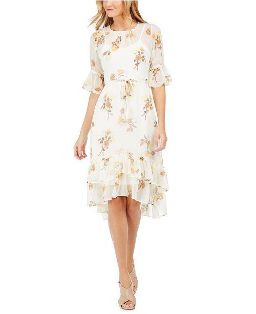 Calvin Klein Floral-Print Ruffled A-Line Dress