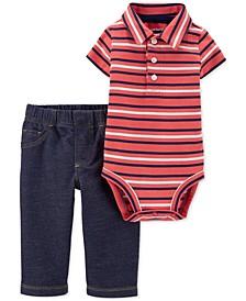 Baby Boys 2-Pc. Cotton Striped Polo Bodysuit & Pants Set