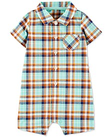 Baby Boys Collared Plaid Cotton Romper