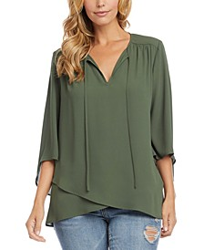 3/4-Sleeve Crossover Top