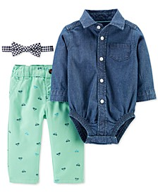 Baby Boys 3-Pc. Cotton Bowtie, Chambray Bodysuit & Printed Pants Set
