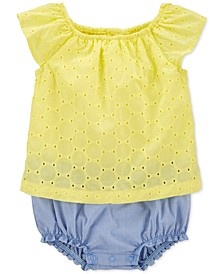 Baby Girls Layered-Look Cotton Sunsuit