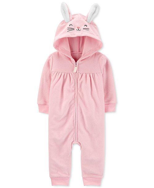 Carter's Baby Girls Hooded Bunny Terry Coverall