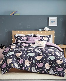 Magical Narwhals 4-Piece Reversible Twin Comforter Set