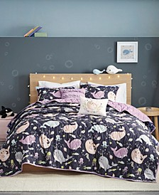 Magical Narwhals Reversible 4-Piece Twin Coverlet Set