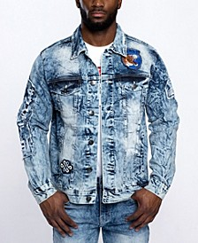 Men's Tiger Applique Patch Denim Jacket