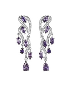 Silver-Tone Amethyst Accent Cluster Drop Earrings