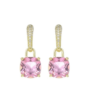 A & M Gold-Tone Pink Topaz Accent Earrings