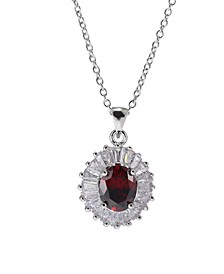 Silver-Tone Layered Garnet Accent Pendant Necklace
