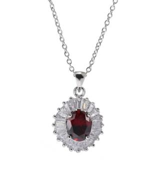 A & M Silver-Tone Layered Garnet Accent Pendant Necklace