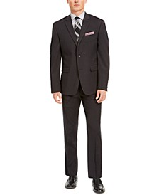 Men's Slim-Fit Stretch Black Micro-Grid Suit