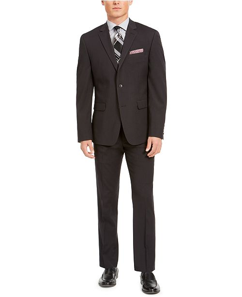 Perry Ellis Men's Slim-Fit Stretch Black Micro-Grid Suit