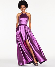 Juniors' Metallic Ruffled Slit Gown