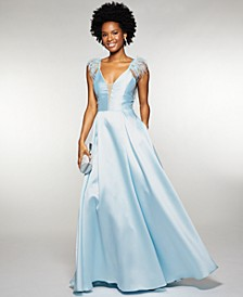 Juniors' Feather-Trim Satin Gown