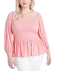 Trendy Plus Size Sherrie Smocked Peplum Top