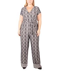 Plus Size Paisley-Print Tie-Belt Jumpsuit
