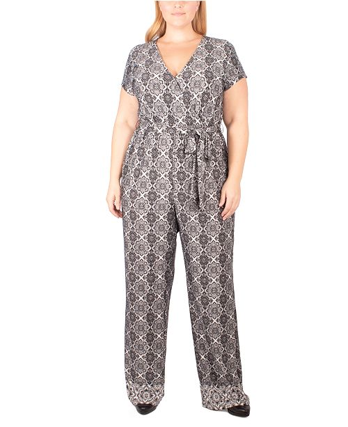 NY Collection Plus Size Paisley-Print Tie-Belt Jumpsuit