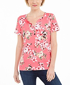 Floral-Print Henley T-Shirt, Created For Macy's