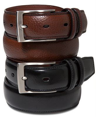 Some men's belts feature a single piece of stitched leather, creating a smooth and sleek look. For a bit more texture, consider braided leather belts. These options feature intricately woven pieces of leather.
