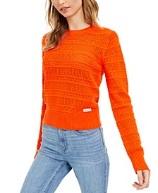 Mixed-Stitch Long-Sleeve Cotton Top