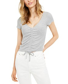 Ruched Scoop-Neck Top