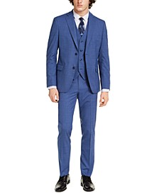 Men's Slim-Fit Stretch Medium Blue Plaid Suit Separates, Created for Macy's