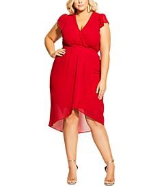 Trendy Plus Size Faux-Wrap Swing Dress