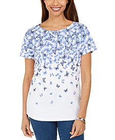 Karen Scott Cascade-Butterfly Printed Top, Created for Macy's