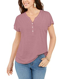 Dolman-Sleeve Henley Linen-Blend Top, Created for Macy's