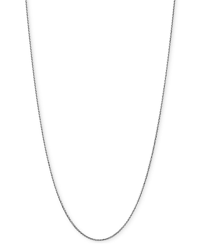 """Italian Gold - Wheat Link 20"""" Chain Necklace in 14k White Gold"""