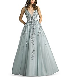 Beaded Floral-Appliqué Gown