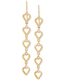 Polished Heart Dangle Drop Earrings in 10k Gold