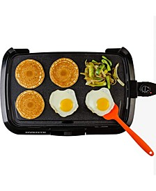 Electric Griddle, Temperature Probe and Control Knob, Indicator Light and Drip Tray
