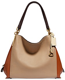 Colorblock Mixed Leather Dalton 31 Shoulder Bag