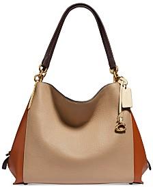 Colorblock Mixed Leather Dalton 31 Shoulder Bag