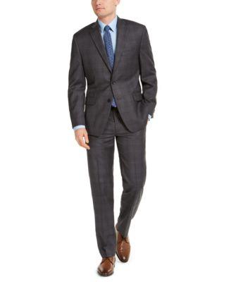 Men's Classic-Fit Airsoft Stretch Charcoal Plaid Suit Pants