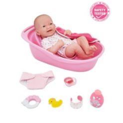 "La Newborn 14"" Smiling Baby Doll 8 piece Bathtub Gift Set"