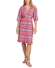 Printed Dolman-Sleeve Dress