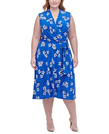 Plus Size Floral-Print Surplice Fit & Flare Dress