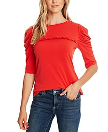 Puffed-Sleeve Knit Top
